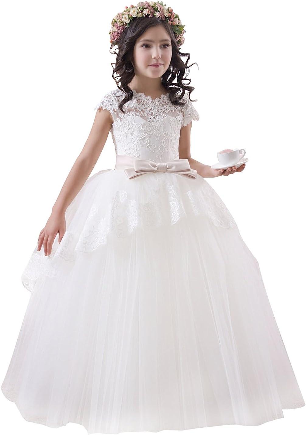 princhar Tulle Floor Length Flower Girl Dress Party Ball Gown Holiday Dress