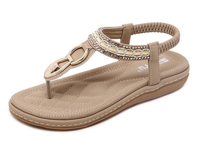 1de0ec1c59ef Tomsent Women Seaside Sandwich Sandals Rhinestone Clip Toe Beach Shoes  Elastic T-Strap Bohemia Flat Slippers Thongs Flip Flop Sandals Apricot UK  5  ...