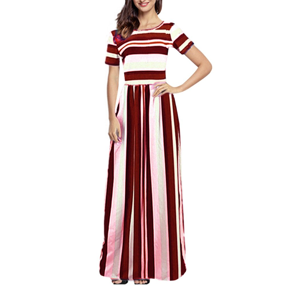 806b877a3e8 Amazon.com  Women s Boho Hippie Shirt Dress Ladies Retro Rainbow Striped  Print Loose Midi Dress  Clothing