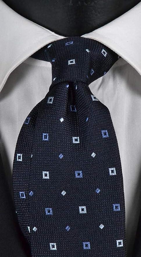 Corbata de hombre azul con micro fantasía blanca y lavanda ...