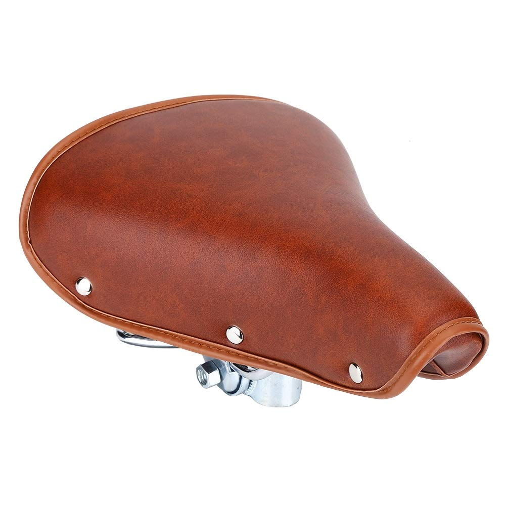 Universal Comfortable Brown Rivets Bike Seat Durable PU Leather Spring Bicycle Saddle Bicycle Saddle