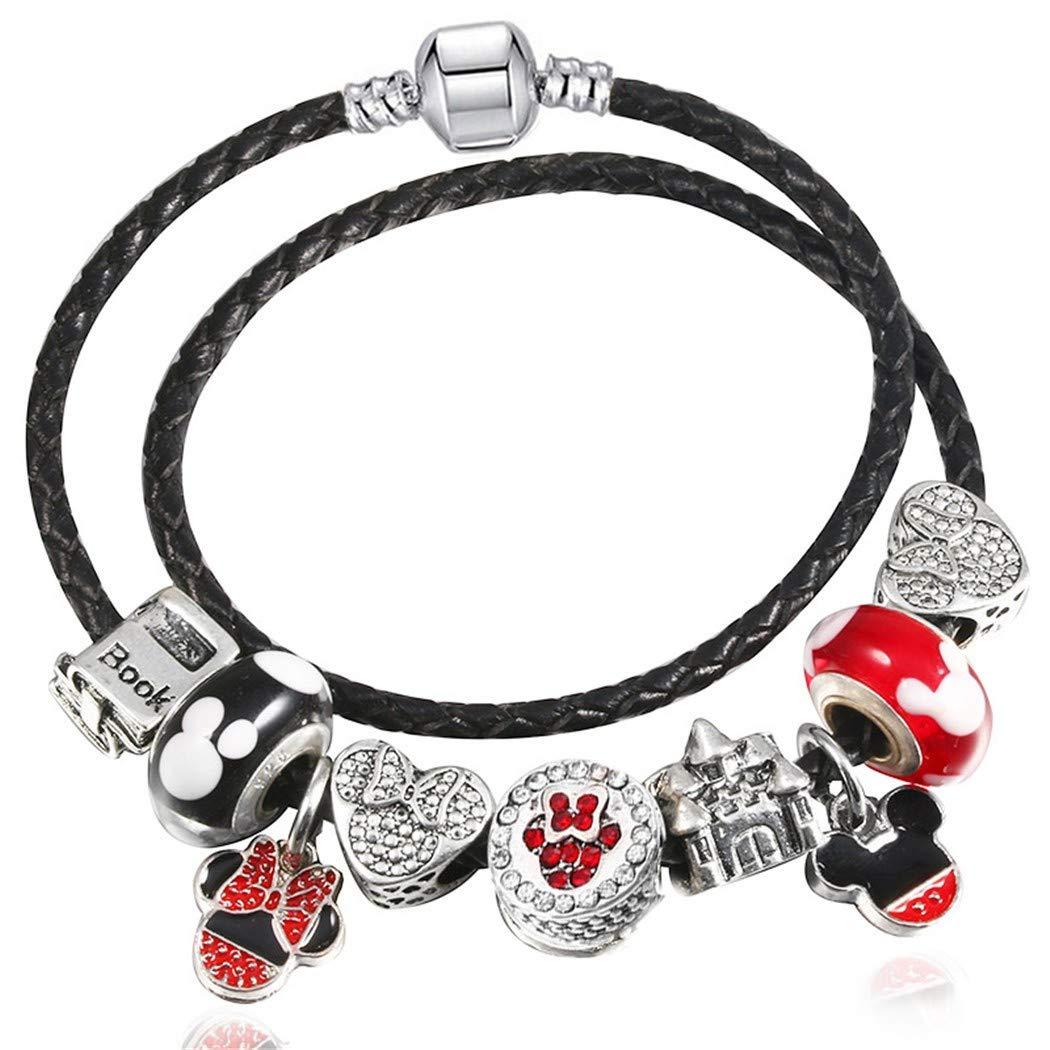 QWERST Bracelet Moda Cartoon Microesferas De Vidrio Charm Bracelet para Mujeres con Fino Brazalete Joyas
