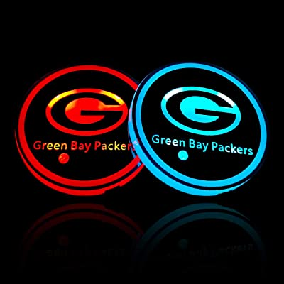 wesport NFL-American Football Collection - 2PCS LED Cup Holder Mat Pad Coaster with USB Rechargeable Interior Decoration Light (Green Bay Packers): Automotive