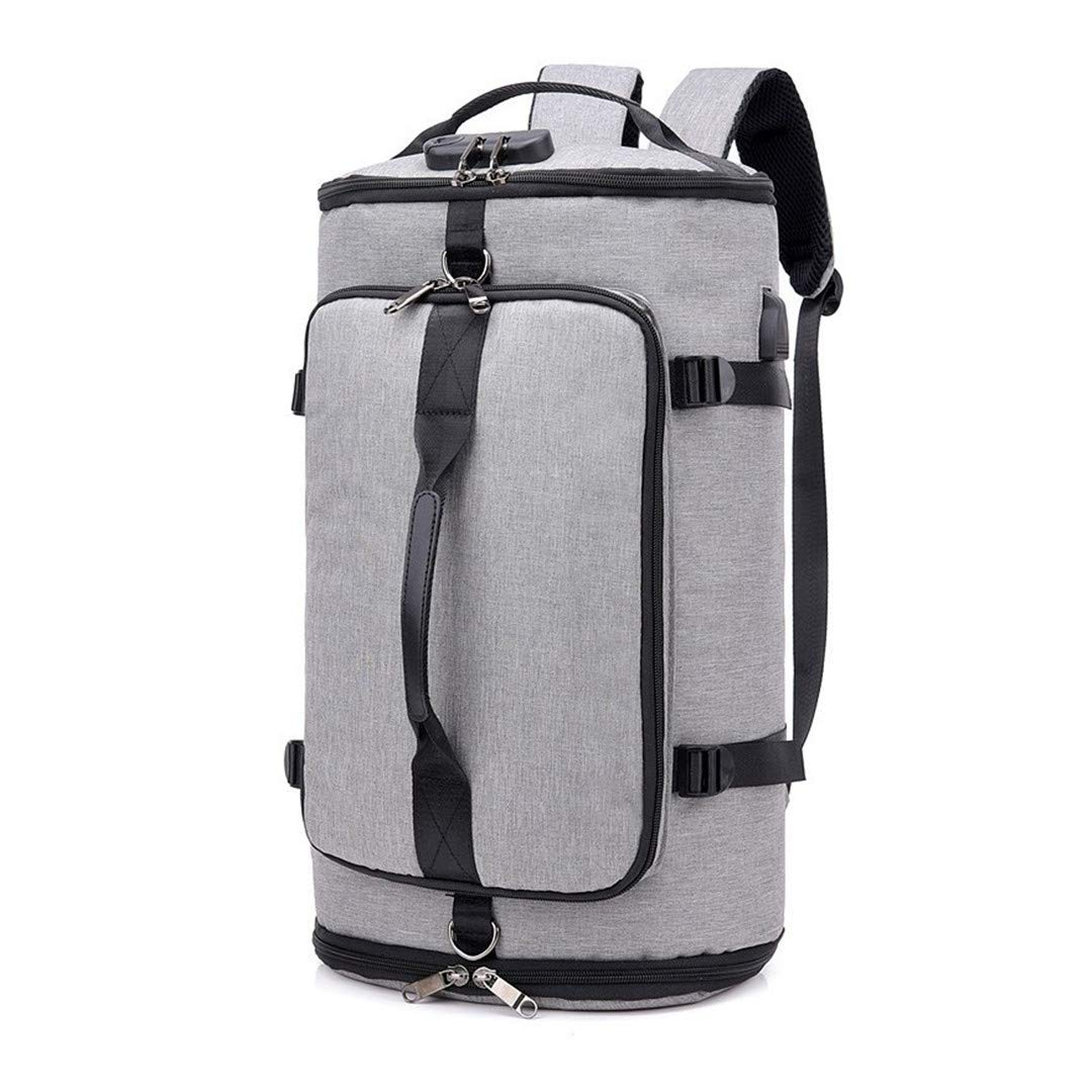 Grey One_Size Men Large Travel Backpack Anti Theft Password Lock Smart Backpack USB Charge Male Backpacks Grey