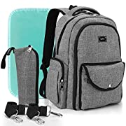 Diaper Bag Backpack for Dad and Mom, Apiker Unisex Water Resistant Nappy Bag for Travel with Baby, Stylish and Durable, with Extra Changing Pad, Stroller Straps and Insulated Sleeve (Grey)