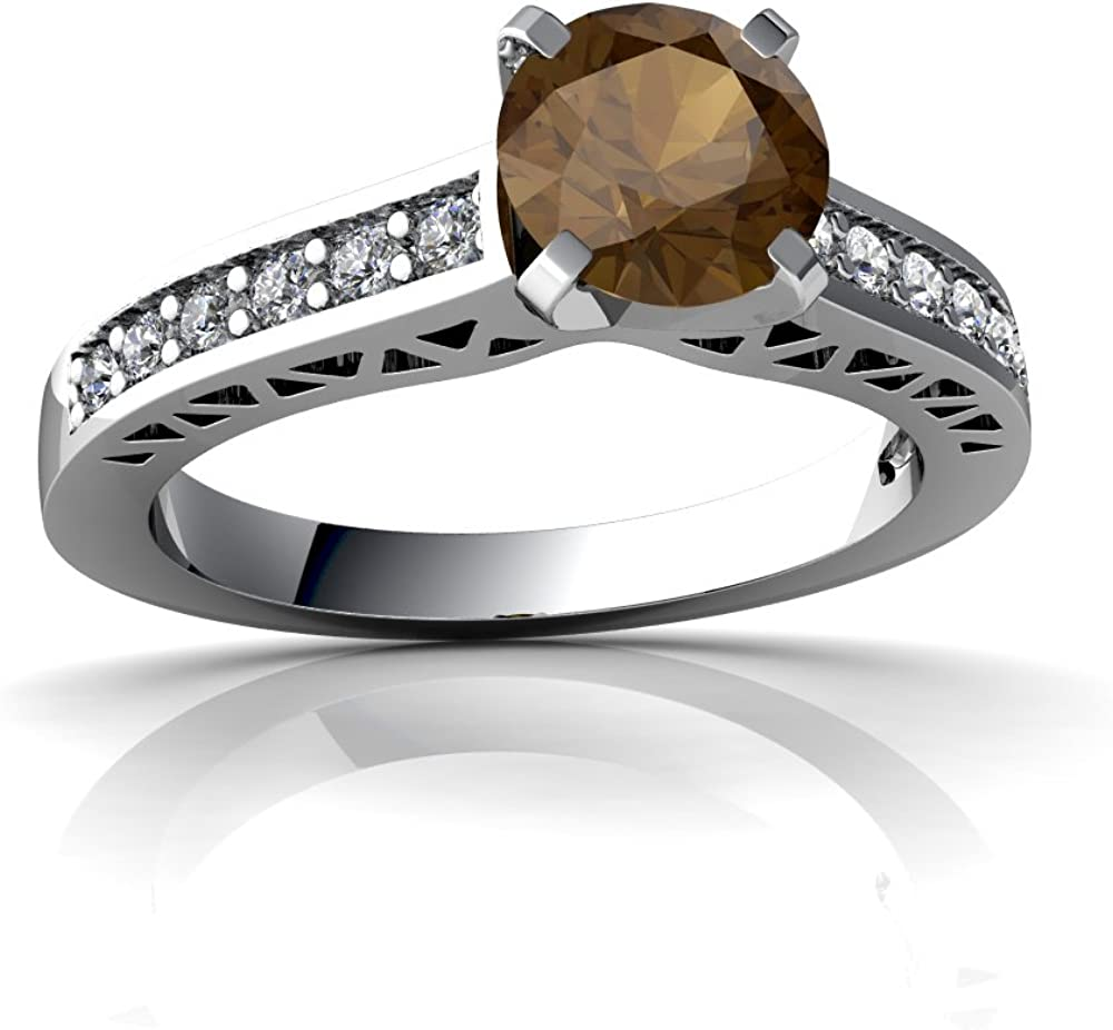 Smoky quartz citrine ring sterling silver two stone engagement ring for women brilliant round cut