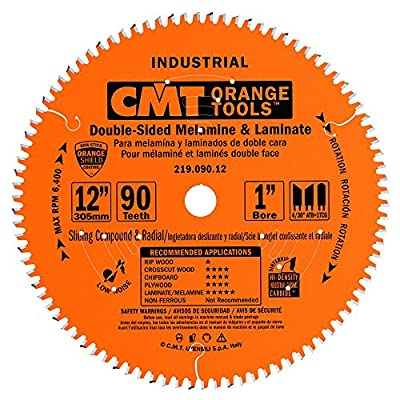 CMT 219.090.12 Industrial Sliding Compound Miter & Radial Saw Blade, 12-Inch x 90 Teeth 4/30° ATB+1TCG Grind with 1-Inch Bore, PTFE Coating
