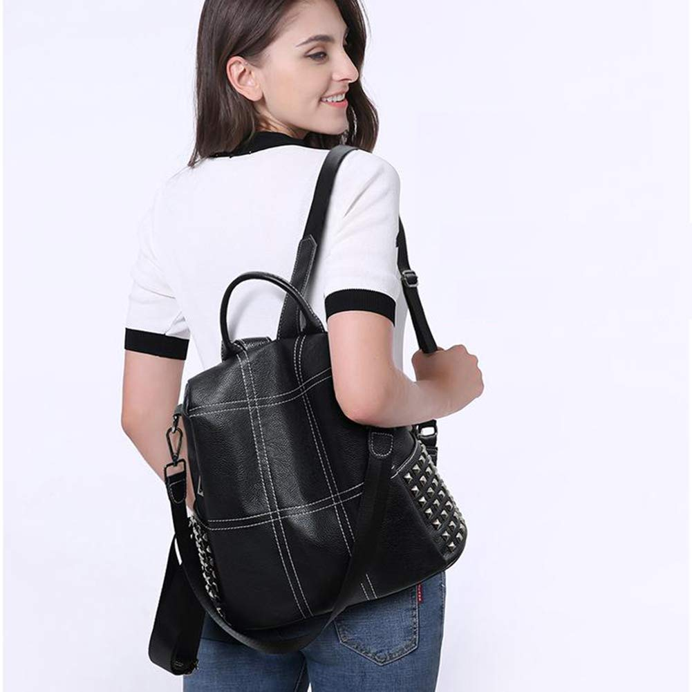 311532cm ZHML Black Pink Backpack Leisure Bag Travel Bag Crossbody Bag Anti-Theft Dual-use Cowhide Fashion Wild Street Fashion Leather Soft Ladies Backpack