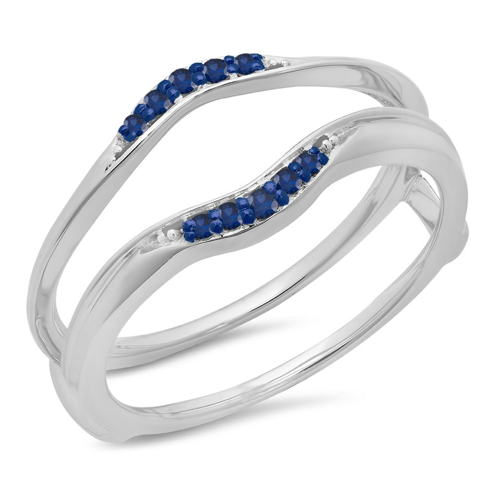0.10 Carat (ctw) 10K White Gold Round Blue Sapphire Wedding Band Guard Double Ring 1/10 CT (Size 5)