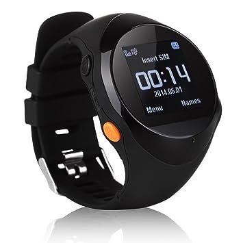 Localizador GPS inteligente del GPS del reloj localizador de emergencia SOS Empuje SmartWatch Reloj despertador de la ayuda SMS (black): Amazon.es: Deportes ...