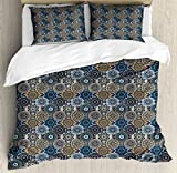 Moroccan King Size Duvet Cover Set by Ambesonne, Abstract Composition with Ancient Cultural Rich Flora and Arabian Design Elements, Decorative 3 Piece Bedding Set with 2 Pillow Shams, Multicolor