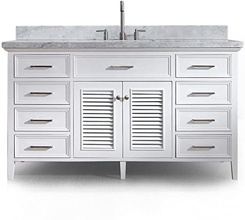 ARIEL 61″ Inch Single Rectangle Sink White Bathroom Vanity Cabinet