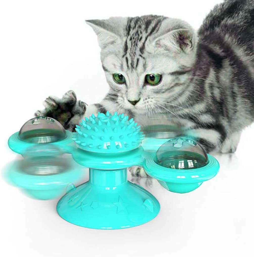 Three Colors Green Turntable Teasing Pet Toy with Led Ball and Catnip Ball Hair Brush Funny Cat Toy Massage Scratching Tickle,Lakeblue,Green,Yellow PetChill Windmill Cat Toy