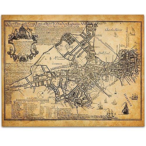 Best-selling Boston Map 1769 Art Print - 11x14 Unframed Great Vintage Home Decor