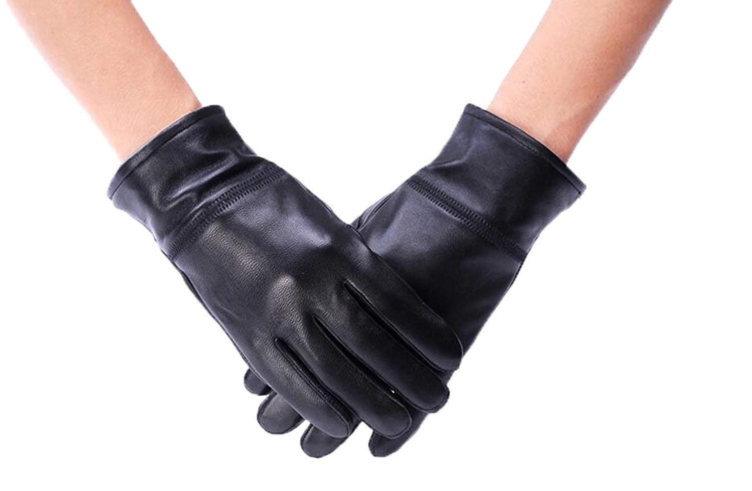 CWJ Gloves Ladies Ride Thicken Warm Autumn and Winter Men's Style,WomenBlack,Large