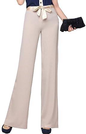 Verano Elegantes Pantalones Rectos Color Sólido Cintura Media con Cinturón  Elastische Taille Joven Bastante Delgado Anchos Largos Pantalones De Tela  ... f39ef95b8932