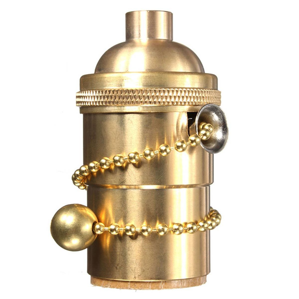 Light Socket, KINGSO E26/ E27 Solid Brass Edison Retro Pendant Lamp Holder for Lamp Socket And Fixture Replacement, Industrial Vintage DIY Projects, With Pull Chain(Copper)