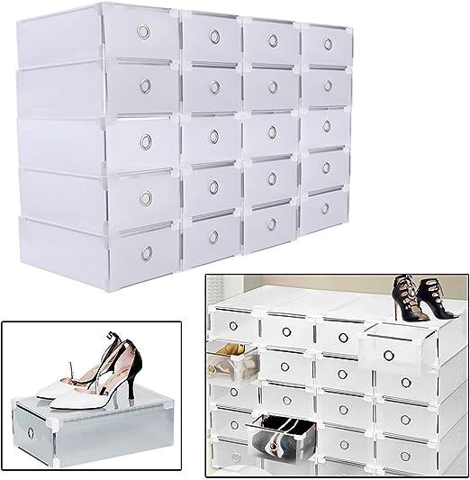 SHIOUCY 20 Piezas Cajas de Almacenaje Decorativas Plastico sin Tapa Apilables Caja de Zapatos, Cajas deAlmacenaje Ropa Bajo Cama: Amazon.es: Hogar
