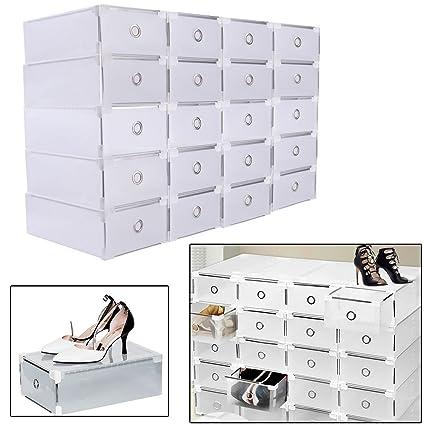 SHIOUCY 20 Piezas Cajas de Almacenaje Decorativas Plastico sin Tapa Apilables Caja de Zapatos, Cajas deAlmacenaje Ropa Bajo Cama