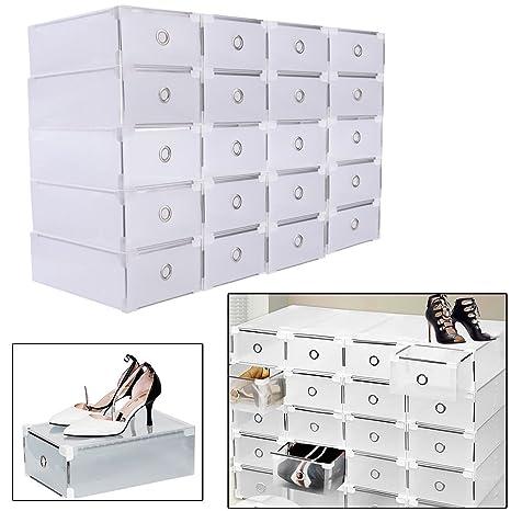 SHIOUCY 20 Piezas Cajas de Almacenaje Decorativas Plastico sin Tapa Apilables Caja de Zapatos, Cajas
