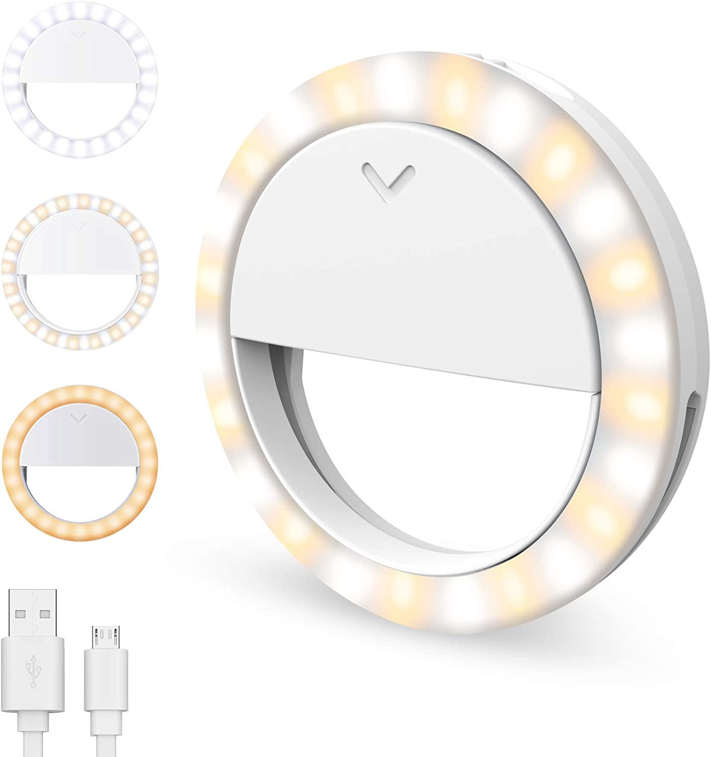 Laptop 3 Lighting Modes Long Battery Life //1m USB Cable Upgraded Adjustable Brightness 600mAh Rechargeable Circle Light for Smartphone Selfie Ring Light 40 LED Clip-on Photography Video Light