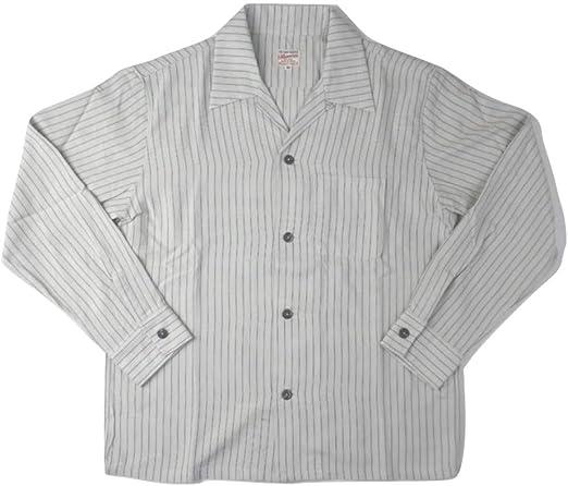 MOMOTARO JEANS(桃太郎ジーンズ) ストライプオープンカラーシャツ メンズ レディース 05-267