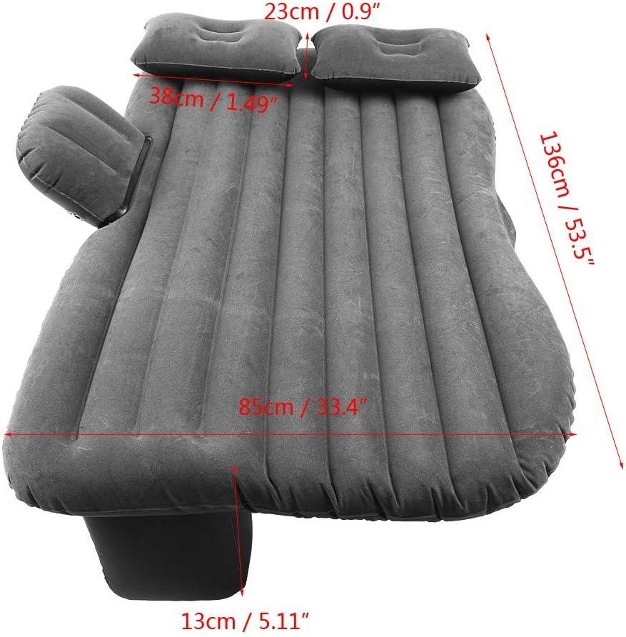Gris Plateado Cama de Aire para Descansar Dormir Viajar Acampar Cama Inflable del Coche con Bomba de Aire Colch/ón del Asiento Trasero del Coche