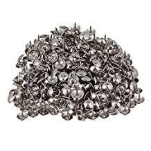 BQLZR 9 x 9mm Round Dome Head Silver Iron Upholstery Nails Stud Tack Furniture Decorative Pins Pack of 200