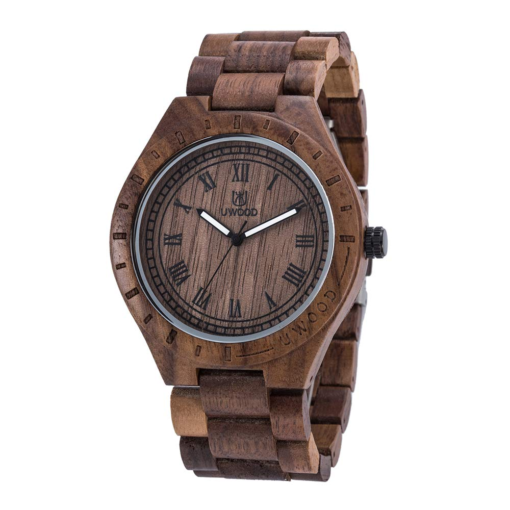 Tayhot Men's Wood Watch,Male Analog Quartz Natural Handmade Lightweight Wooden Large Face Round Dial Mens Walnut Wrist Watch with Wood Band