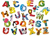 INDIGOS UG - Wood letter - A-Z set of 27 - for children and babies - Motif animals for the children's room, school, kindergarten, for playing, crafting and collecting