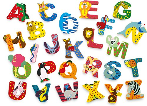 INDIGOS UG - Wood letter - I - for children and babies - Motif animals for the children's room, school, kindergarten, for playing, crafting and collecting