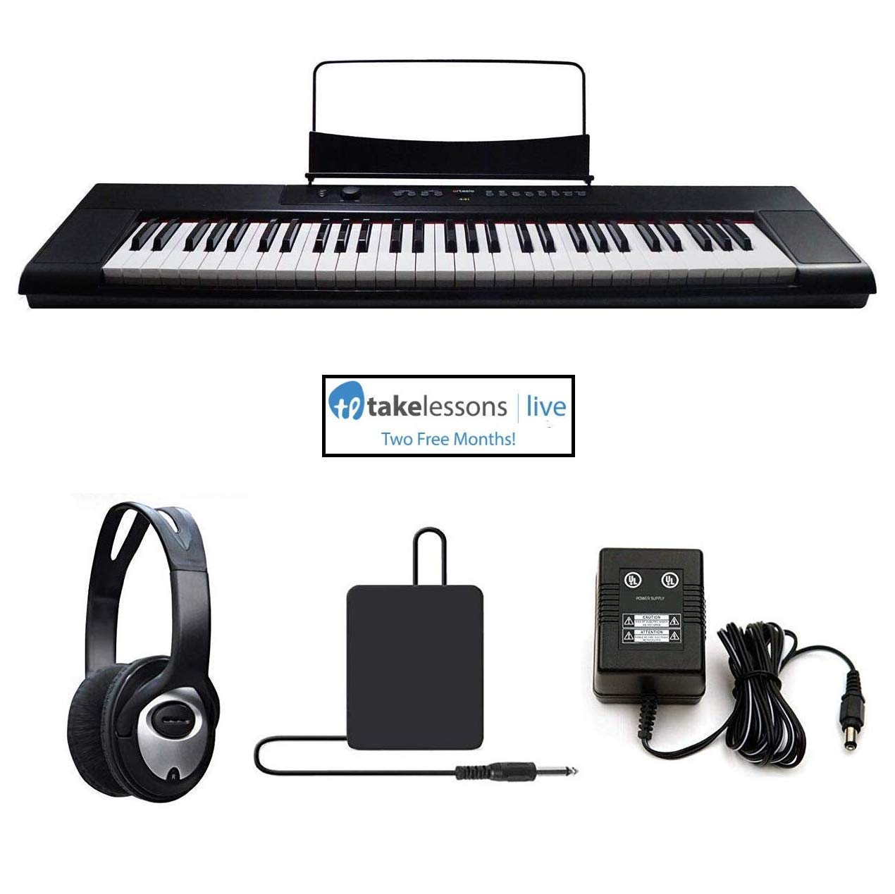 Artesia A-61, Digital Piano (Black) 61-Key with 8 Dynamic Voices with USB - Bundle