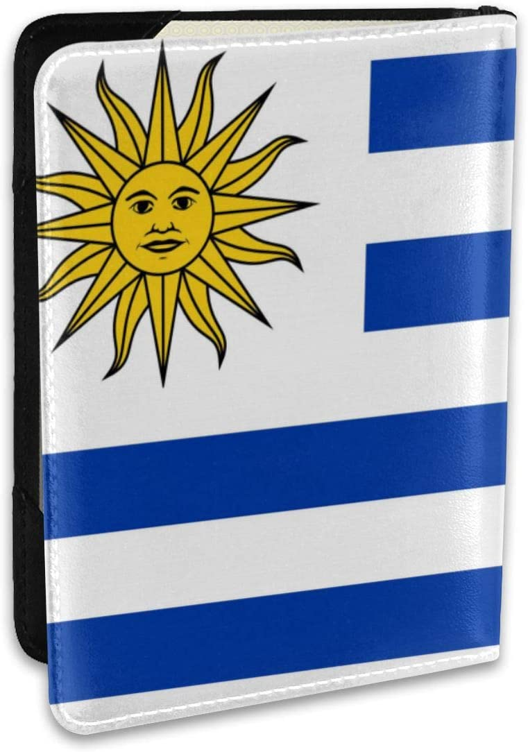 Uruguay Flag Fashion Leather Passport Holder Cover Case Travel Wallet 6.5 In