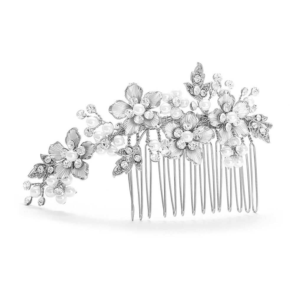 Mariell Brushed Silver Handmade Austrian Crystal & White Pearl Wedding Comb - Luxe Bridal Hair Accessory by Mariell