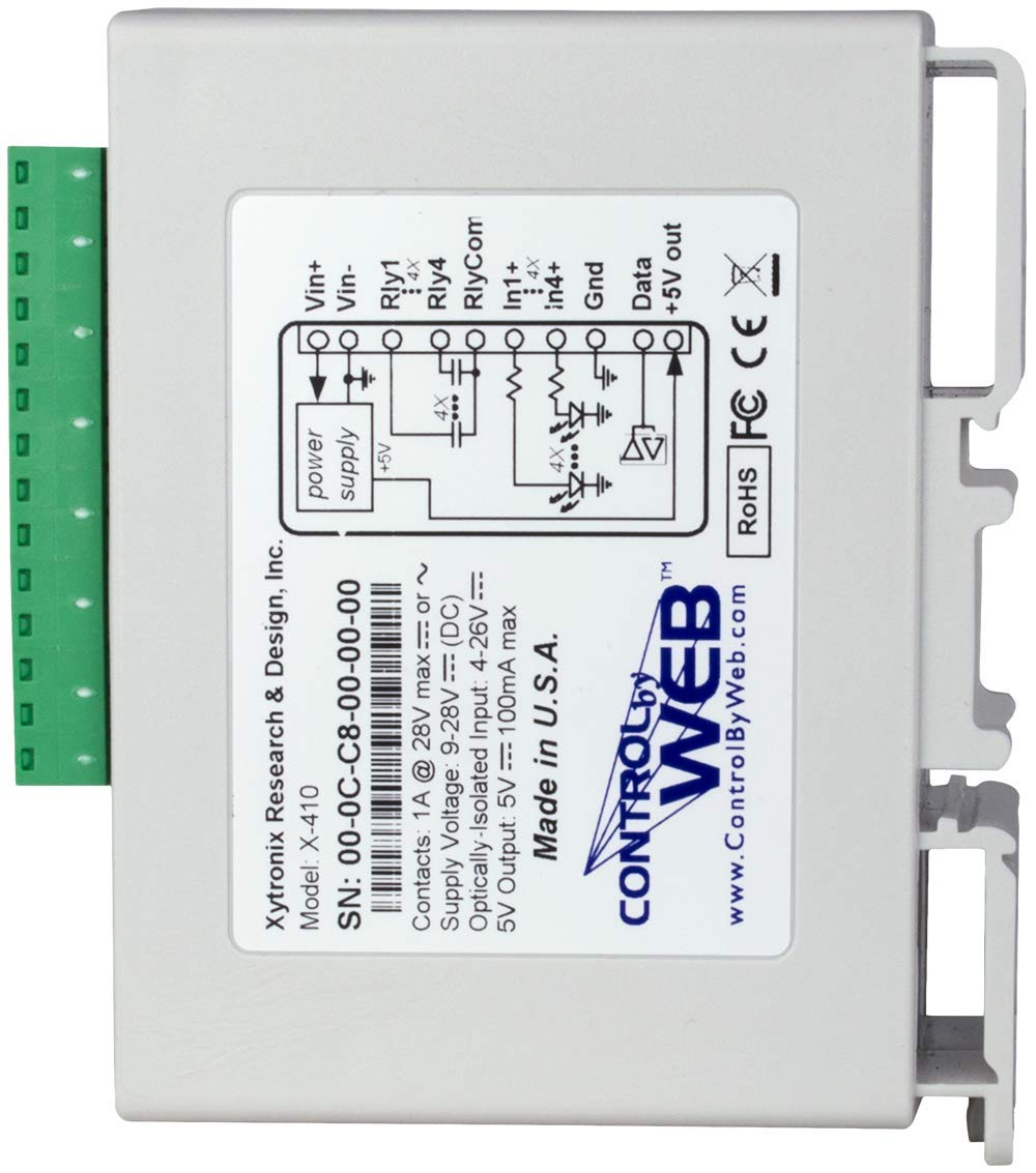 X-410 Industrial Web-Enabled Ethernet Relays, Digital Inputs, and Temperature/Humidity Monitor by ControlByWeb (Image #4)