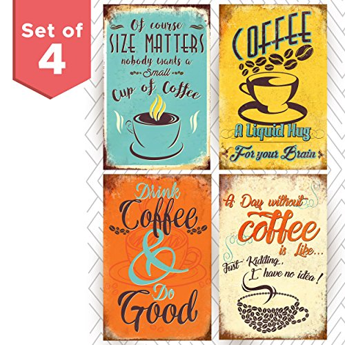 Multicolor Coffee Shop Posters. Wall Art Decor for Any Kitchen, Cafe, Diner or Restaurant! Add a Vintage Style to Your Home (Vintage Coffee Posters)
