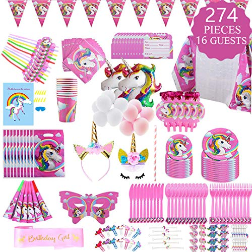 Unicorn Party Supplies Set - 274 pcs Set With Unicorn Birthday Party Supplies, Pink Unicorn Headband for Girls, Birthday Party Decorations, Unicorn Balloons, Pin the Horn on the Unicorn Game and More, Serves 16]()