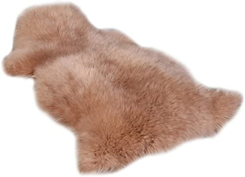XIAO WEN Real Sheepskin Rug Natural Fur Pelt Sheep Rug Light Brown