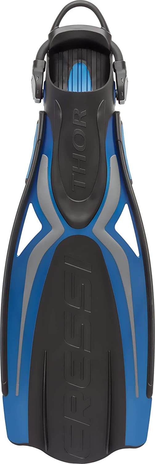 Cressi Adult Open Heel Fins with Elastic Bungee Strap for Scuba Diving Strength Lightness Thor EBS: Made in Italy Aesthetics Power Comfort