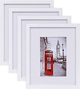 "eletecpro Picture Frames 8x10 Tempered Glass with Mat Set of 4, Display Pictures 8x10"" Without Mat or 4x6 & 5x7 with Mat for Wall and Tabletop - Mounting Hardware Included"