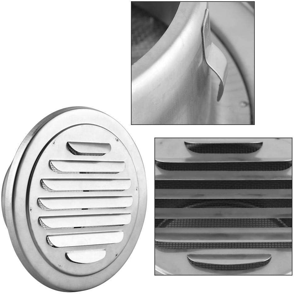 Wall Air Vent Stainless Steel Round Flat Grille Ducting Ventilation Cover Outlet Mesh