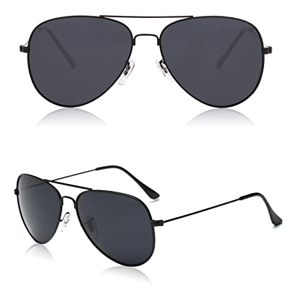 7676f9b5877 SOJOS Classic Aviator Polarized Sunglasses Mirrored UV400 Lens SJ1054 with  Black Frame Grey Polarized Lens