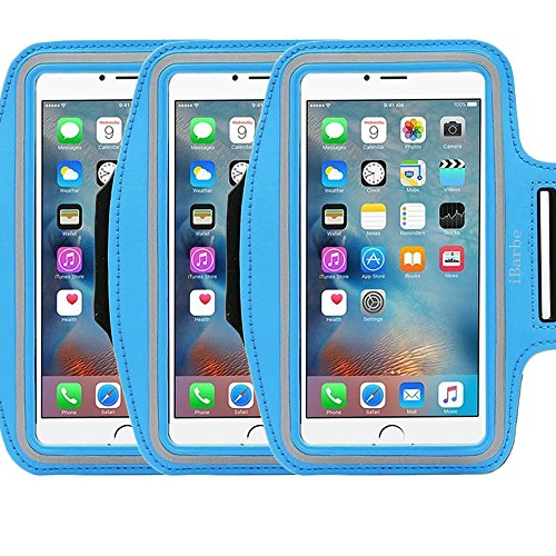 3Pack Armband Exercise Sports Easy iBarbe Fitting Slim Scratch-Resistant Running Water Resistant Key Holder Slot For Phone up to 5.5 inch Screen Men Women Sweat-Resistant Design not for iphone 4 4s ()