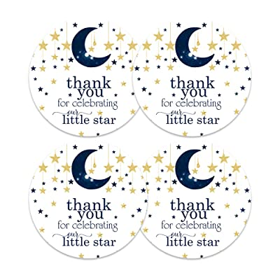 Twinkle Little Star Stickers (60 Pack) Baby Shower Favors Party Supplies Round Labels: Toys & Games
