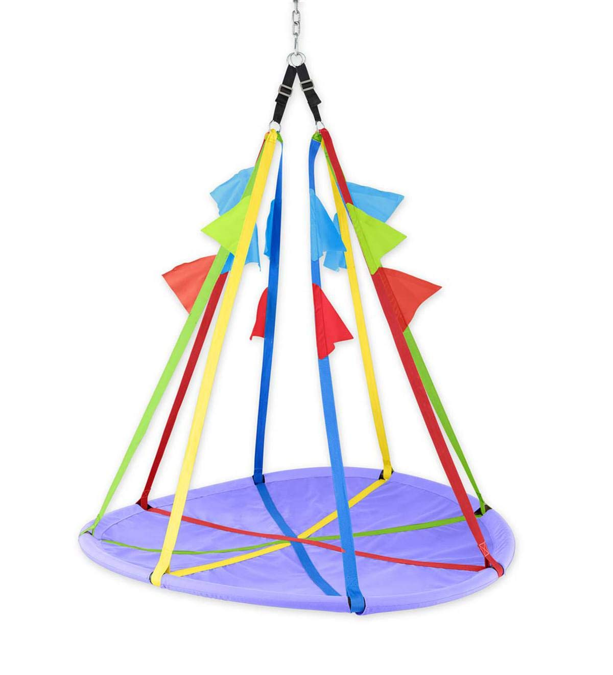 HearthSong® Rainbow Flag Giant Outdoor Platform Tree Swing for Children - Backyard Playground Equipment - Seat: Approx. 58 '' diam. Adjustable Straps: Approx. 58 L and Extend Another 3 Inches by HearthSong® (Image #1)