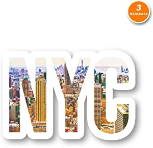 NYC Skyline Sticker New York Stickers - 3 Pack - Set of 2.5, 3 and 4 Inch Laptop Stickers - for Laptop, Phone, Water Bottle (3 Pack) S211598