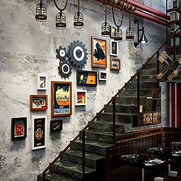 Marcos Decorativos Escaleras Foto Pared Combinación Marco de fotos Pared Relojes Retro Marcos Decorativos Paredes fotográficas, Área ...