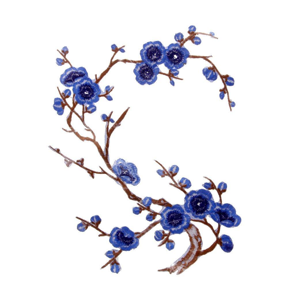 37cm Azul 14cm Parche Motivos DIY Decoraciones 1pcs Apliques De Encaje Ciruelo Del Bordado Flor