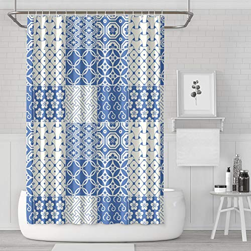 """XIAORD SONDESA 71""""X71"""" Waterproof Quick-Dry Polyester Decorative Bathroom Fabric Curtain Liner for Master Guest Kids Oriental Motif Japanese Traditional Pattern Blue Shower Curtain Set with Hooks"""