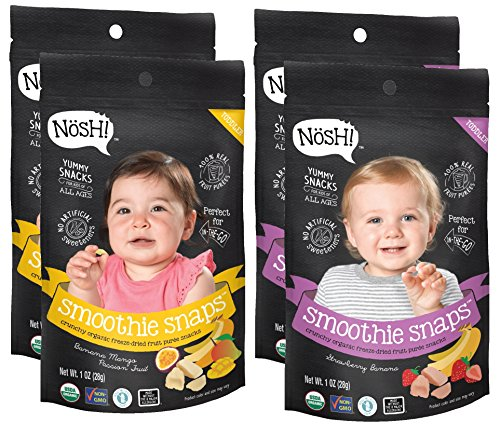 - Nosh Smoothie Snaps 100% Fruit Puree Freeze-Dried Toddler Snack Bites, 1 Ounce, Variety Pack (Pack of 4)